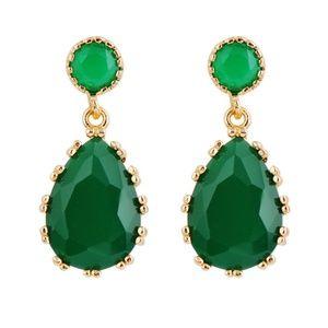 Beryl Gemstone Gold Drop Earrings